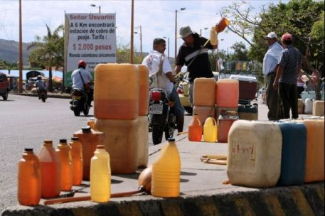 Smuggled gasoline from Venezuela for sale on the streets of Cucuta, Colombia in 2009.(AFP/Getty)