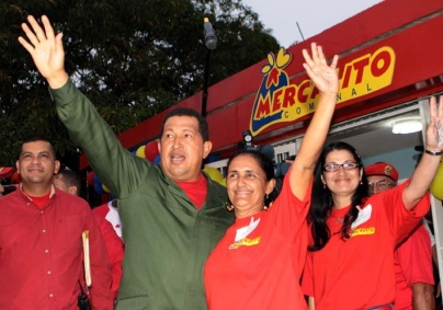 Former president Hugo Chavez inaugurating a Mercal (own state food distribution chain)