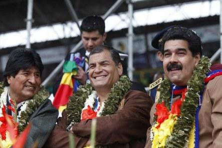 Evo Morales Rafael Correa and Nicolas Maduro