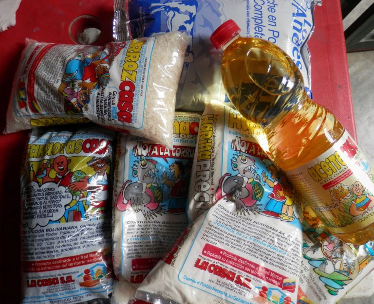 Local food and distribution networks, CLAPs, distribute these contents to families across Venezuela. (Christina Schiavoni)